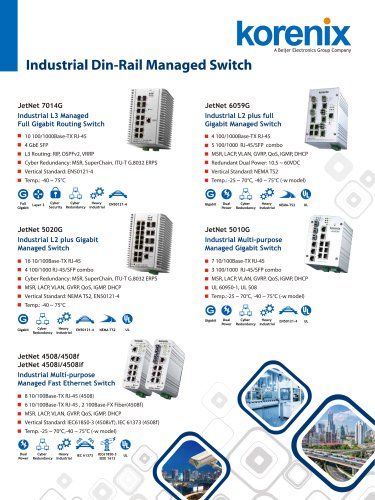 Korenix Industrial Ethernet Switch one-page Flyer