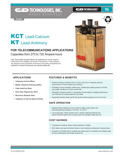 KCT Lead-Calcium KT Lead-Antimony