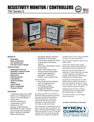 750 Series II: Resistivity Monitor/controller