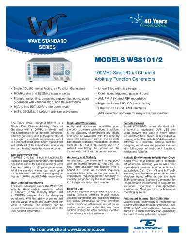 Model WS8101/2  100MHz Single/Dual Channel Arbitrary Function Generator