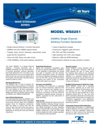 Model WS8251  250MHz Single-Channel Arbitrary Function Generator