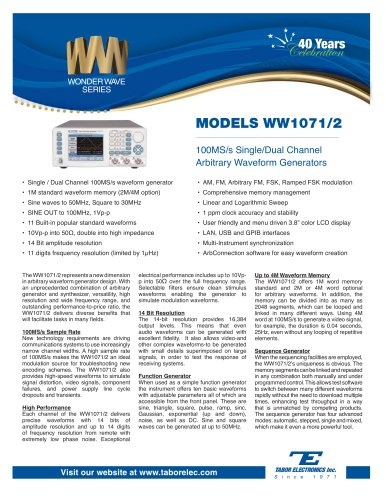 Model WW1071/2 100MS/s Single/Dual Channel Arbitrary Waveform Function Generator