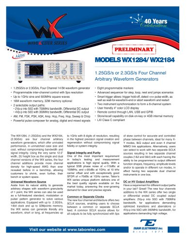 Model WX1284/WX2184 1.25GS/s or 2.3GS/s Four Channel Arbitrary Waveform Generator