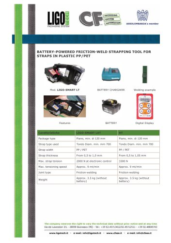BATTERY-POWERED FRICTION-WELD STRAPPING TOOL FOR STRAPS IN PLASTIC PP/PET -LIGO-SMART LT
