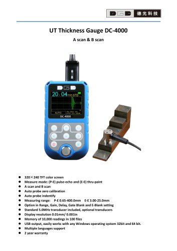 Ultrasonic Thickness Gauge/A and B Scan/Multi-languages/Data logger/Multi-material/Corrosion/Pipe/Tube/Copper/DC4000