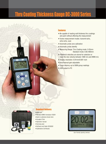Ultrasonic Thickness Gauge/Thru Coating/Multi-languages/Multi-material/Corrosion/Pipe/Tube/Copper/DC3000/DC3020