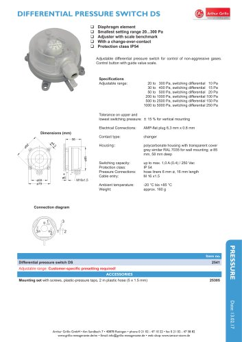 data sheet pressure switch - DS
