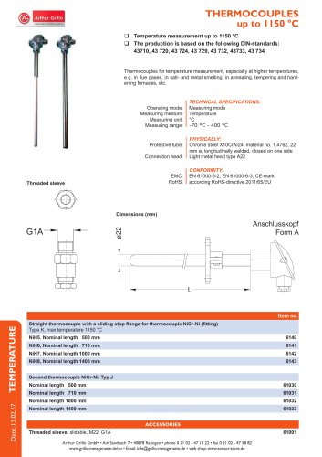 data sheet thermocouples