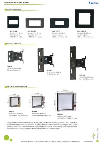 Accessories for SIMEX meters brochure