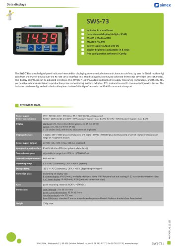 Digital indicator SWS-73 datasheet