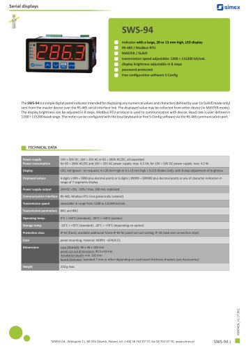Digital indicator SWS-94 datasheet