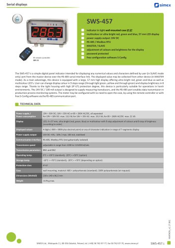 Digital IP67 indicator SWS-457 datasheet