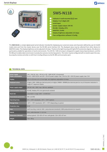Digital IP67 indicator SWS-N118 datasheet