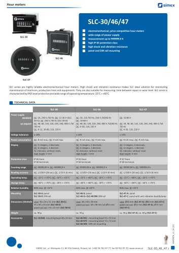 Electromechanical hour meters SLC-30/46/47 datasheet