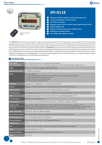 Flow counter SPI-N118 datasheet