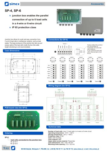 Junction boxes SP-4, SP-6 datasheet