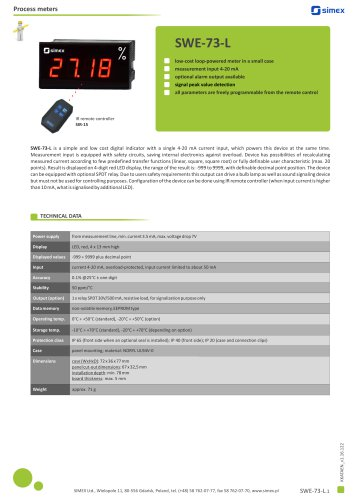 Loop-powered meter SWE-73-L datasheet