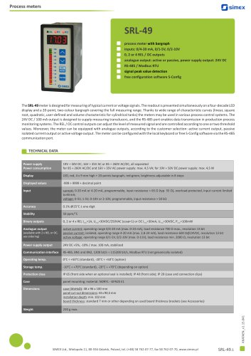 Process meter with bargraph SRL-49 datasheet