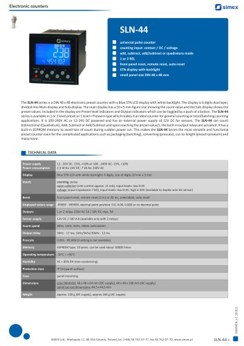 Universal pulse counter SLN-44 datasheet