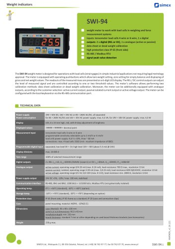Weight indicator SWI-94 datasheet