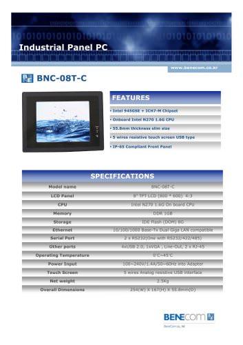 "BNC-08T, Fanless 8"" touch panel PC"