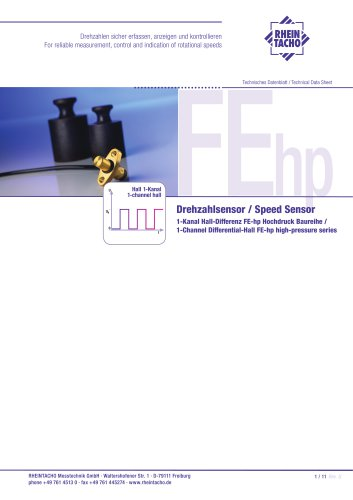 Sensor: 1-Channel Differential-Hall FEhp high-pressure series