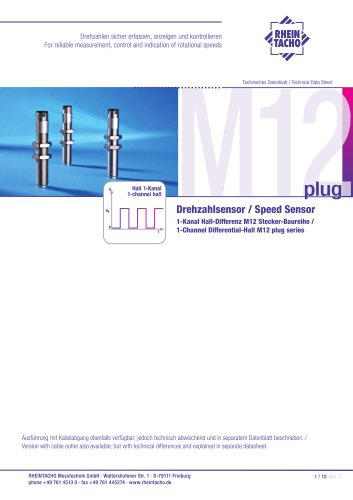 Sensors: 1-Channel Differential-Hall M12-plug series