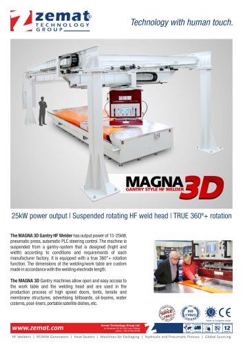 Magna 3D   Suspended 360°+ rotating gantry HF Welder