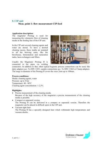 Juice application: CIP unit, Application 1