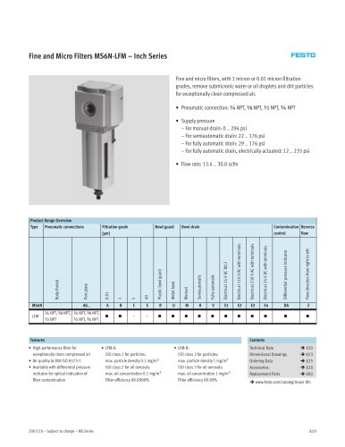 Fine and Micro Filters MS6N-LFM – Inch Series