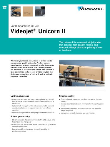 Large Character Ink Jet Videojet ® Unicorn II