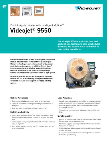 Print & Apply Labeler with Intelligent Motion TM Videojet ® 9550