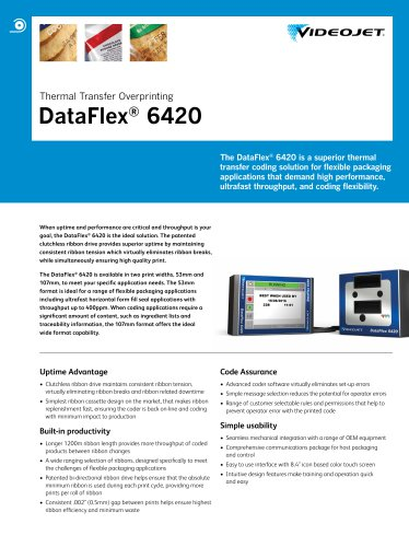 Thermal Transfer Overprinting DataFlex ® 6420 The DataFlex ®