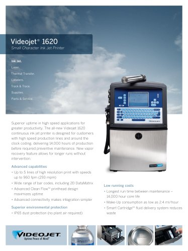 Videojet 1620 Small Character Ink Jet Printer