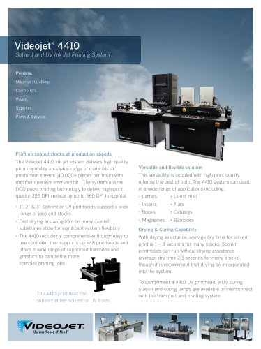 Videojet ® 4410 Solvent and UV Ink Jet Printing System