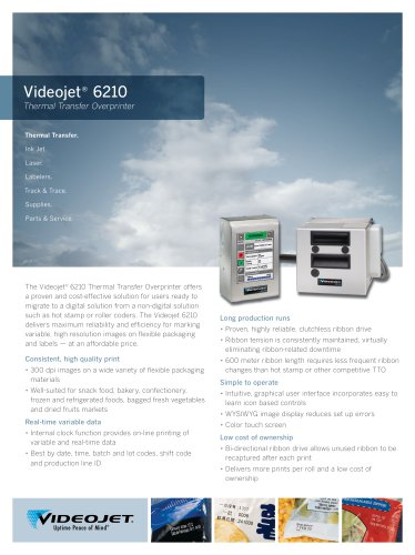 Videojet 6210 Thermal Transfer Overprinter