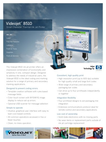 Videojet 8510 Small Character Thermal Ink Jet Printer