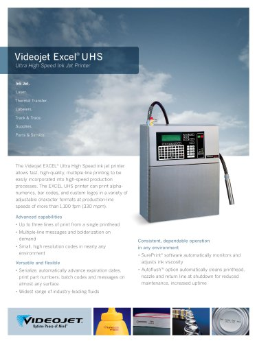 Videojet Excel UHS Ultra High Speed Ink Jet Printer