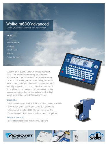 Wolke m600 advanced Small Character Thermal Ink Jet Printer