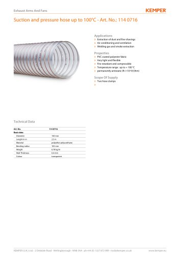 Suction and pressure hose up to 100°C - Art. No.: 114 0716