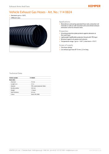 Vehicle Exhaust Gas Hoses - Art. No.: 114 0824