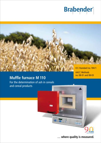 Muffle Furnace M110: Determination of ash in cereals and cereal products