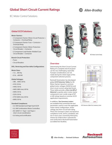 Short Circuit Current Ratings - IEC Motor Control Solution Product Profile