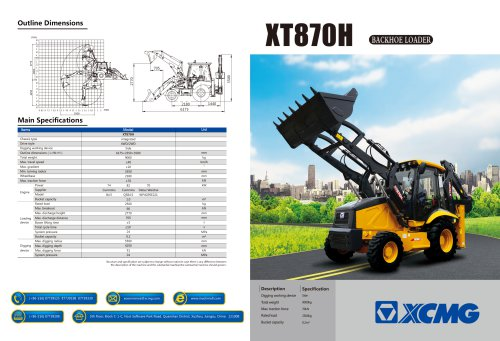 XCMG 2.5ton Backhoe Loader XT870H