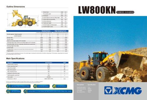 XCMG 8Ton Wheel Loader LW800KN