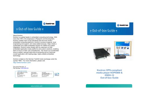 Kontron OPS-compliant media player KOPS800 & DSEK-12 Out-of-box Guide