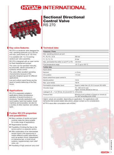 RS 270 Sectional Directional Control Valve