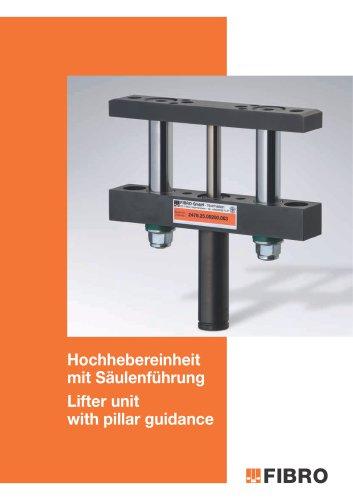 Lifter unit with pillar guidance