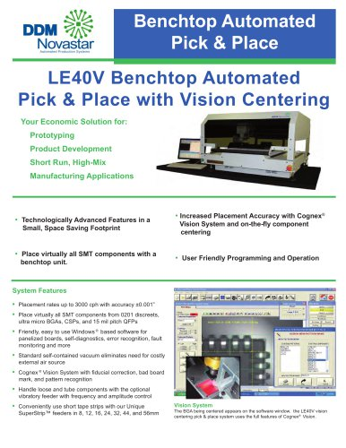 LE40V Benchtop Automated Pick & Place with Vision Centering