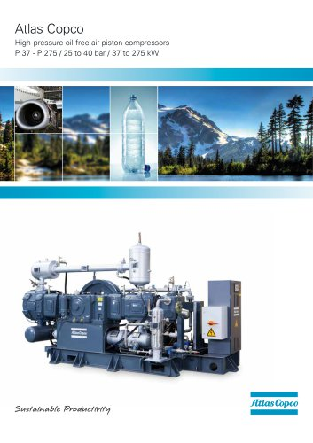 Atlas Copco High-pressure oil-free air piston compressors P 37 - P 275 / 25 to 40 bar / 37 to 275 kW